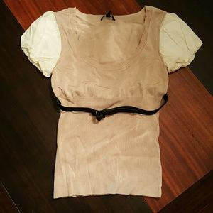 bebe Rayon/Spandex Fitted Scoop Neck Top